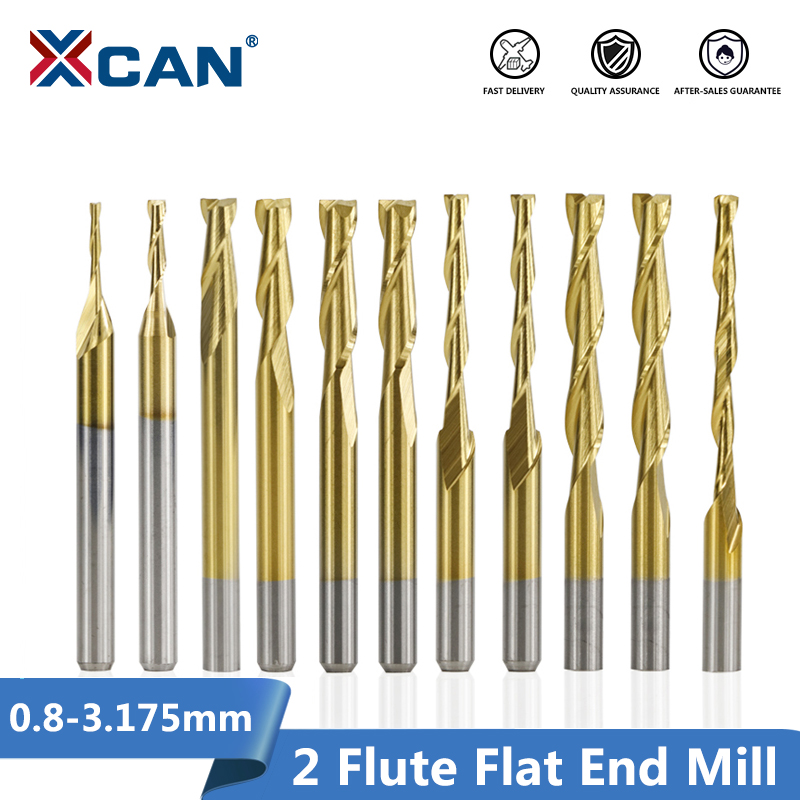 XCAN 10pcs 0.8-3.175mm Titanium Coated 2 Flute Flat End Mill 3.175mm Shank CNC Milling Cutter Router Bit Carbide End Mill