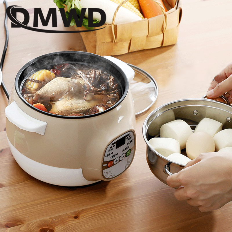 Multifunction Electric Soup Stew Porridge Noodle Cooking Pot Rice Cooker Egg Omelette Frying Pan Timer Mini Hotpot Food Steamer