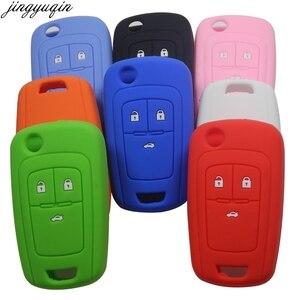 Image 1 - Jingyuqin מרחוק סיליקון רכב מפתח Case כיסוי עבור שברולט Cruze מחזיק 3 כפתורי גומי Flip מתקפל מפתח מגן