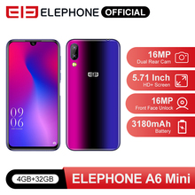 Elephone A6 Mini 5.71'' waterdrop Screen Mobile Phone Android 9.0 MT6761 Quad Core HD+ 4GB 32GB/64GB 16MP 4G LTE Smartphone