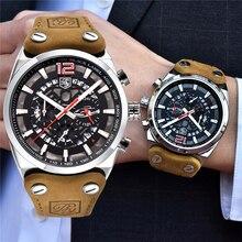 ساعات رجالي Benyar أفضل ماركة فاخرة مقاوم للماء كرونوغراف ساعة جلدية ذكر كوارتز ساعة رجالية رياضية ساعة معصم Reloj hombre