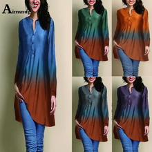 Plus size 5xl Multicolor Gradient Color Women Digital Printing Black Tops Long Sleeve O-Neck Female T-Shirt Autumn Casual Loose
