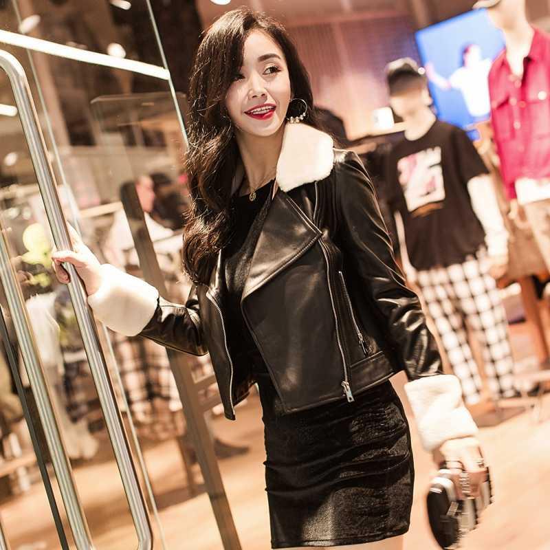 정품 가죽 자 켓 겨울 여성 의류 2020 우아한 따뜻한 짧은 슬림 Streetwear 양모 코트 + 양모 칼라 LW646