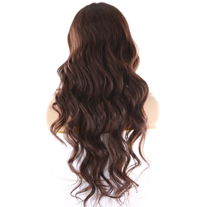Image 4 - Medium Brown Synthetic Hair Lace Wigs For Women X TRESS 24inch Long Wavy Lace Front Wig Middle Part  Heat Resistant Fiber Hair