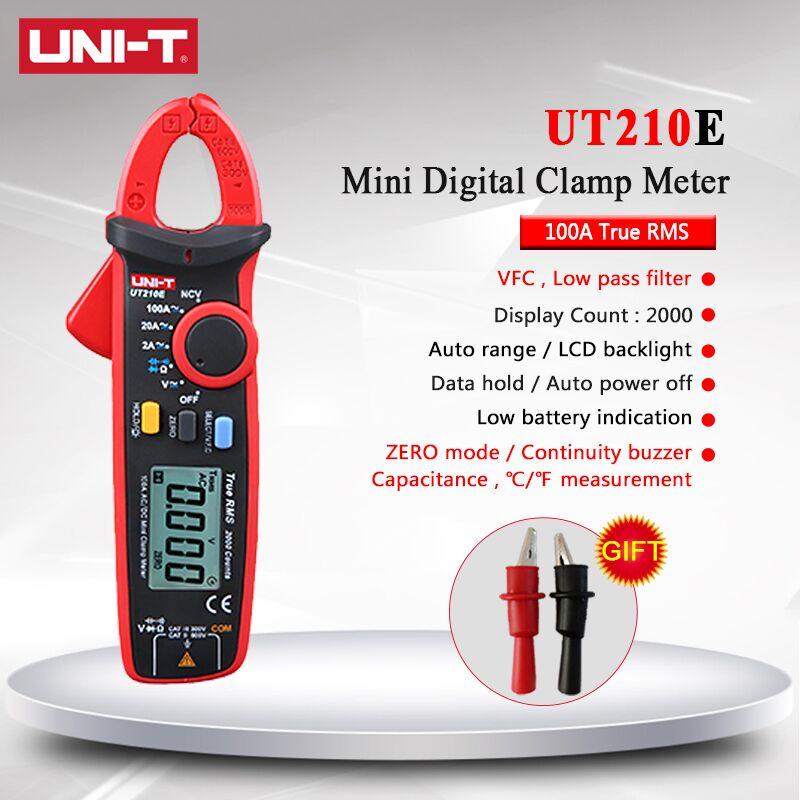 디지털 멀티 미터 미니 클램프 미터 UNI-T uni t ut210e true rms ac dc 커패시턴스 테스터 자동 범위 vfc 멀티 미터