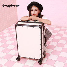 Fashion pink/white/black trolley luggage aluminum frame 20/24 inch scratch-proof suitcase spinner carry on PC travel luggage(China)