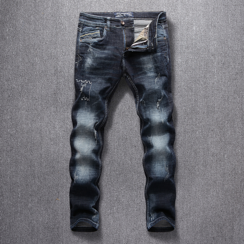Italian Style Fashion Men Jeans Black Blue Slim Fit Ripped Jeans Men Classical Denim Pants Streetwear Embroidery Designer Jeans