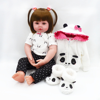 48CM Children Reborn Baby Doll Toy Soft Silicone Cute Panda Cloth Body Short Hair Sleeping Baby Doll Toddler Kids Pretend Play