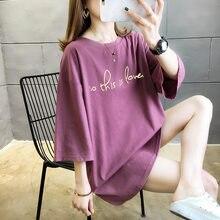T-shirt d'été Femmes Lettre Imprimé Surdimensionné 4XL 5XL 6XL 7XL 8XL T-shirts À Manches Courtes Lâche Décontracté D'été Femme Hauts
