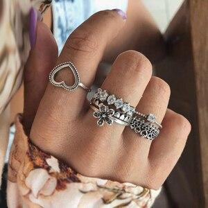 Новинка, модное Ювелирное кольцо, ретро стиль, любовь, цветок, стразы, набор, кольцо, 6 шт. в комплекте, комбинированное кольцо, панк, готика, об...