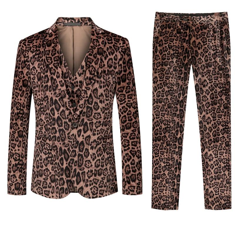 Men's Slim Leopard Print Suit 2019 New Men's Fashion Casual Print Long Sleeve Suit Best Selling Leopard Print Party Suit