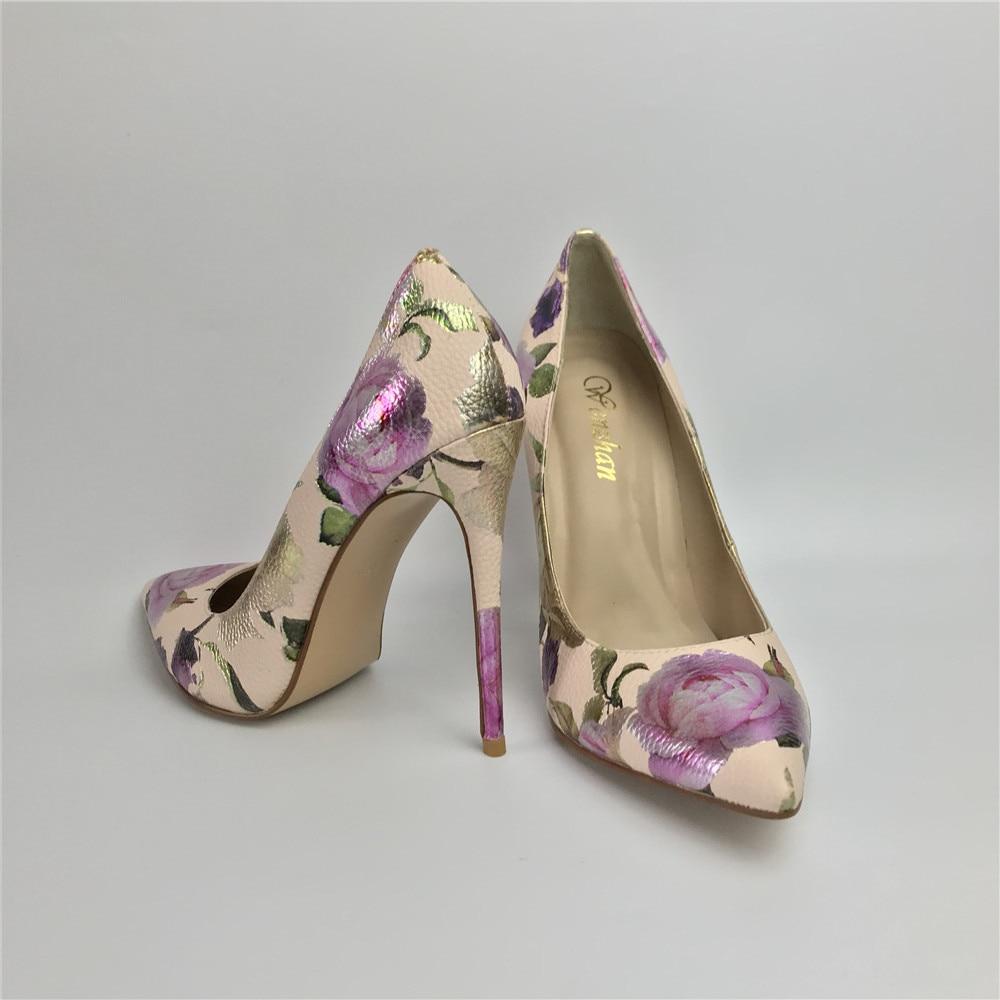 Image 2 - Women Pumps Hot Fashion Purple Flower Pointed Toe Thin High Heels  12CM Heels Pumps Good Quality 36 42 WENZHAN A99 6Womens Pumps   -