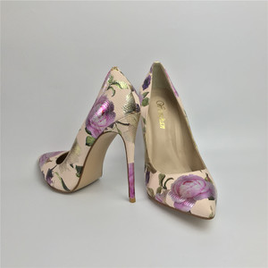 Image 2 - Women Pumps Hot Fashion Purple Flower Pointed Toe Thin High Heels 12CM Heels Pumps Good Quality 36 42 WENZHAN A99 6