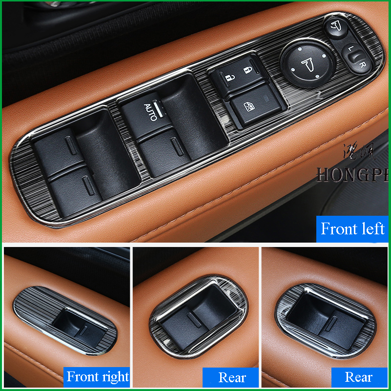 For <font><b>Honda</b></font> <font><b>HRV</b></font> HR-V Vezel 2015-2019 Interior <font><b>Door</b></font> <font><b>Handle</b></font> Window Lift Panel Switch Button Cover Sticker Trim Car Accessories image