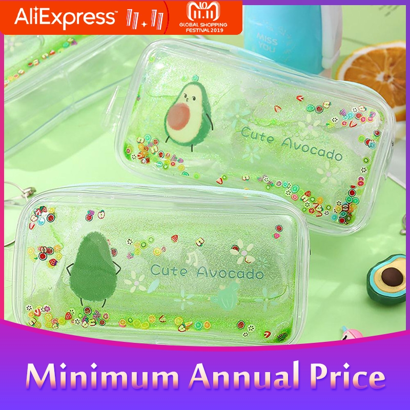 For Avocado Transparent Pencil Case Cartoon Peach Large Capacity Pencil Case