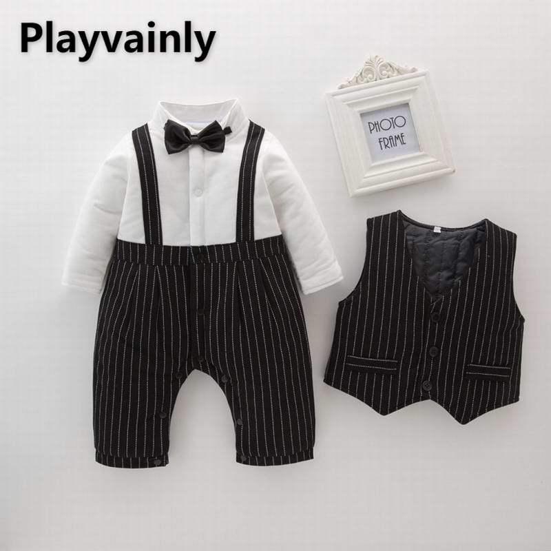 Wholesale 2021 New Baby Boy Sets thick Long Sleeve Romper+ stripe vest 2 Piece Suit Boy Clothes E17155