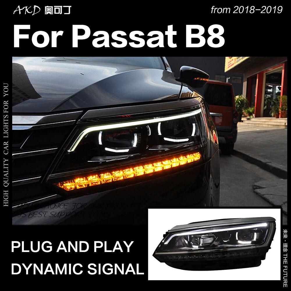 AKD estilo de coche para VW Passat B8 faros 2017-2018 versión estadounidense faro LED DRL Hid cabeza lámpara Angel Eye Bi Xenon Accesorios