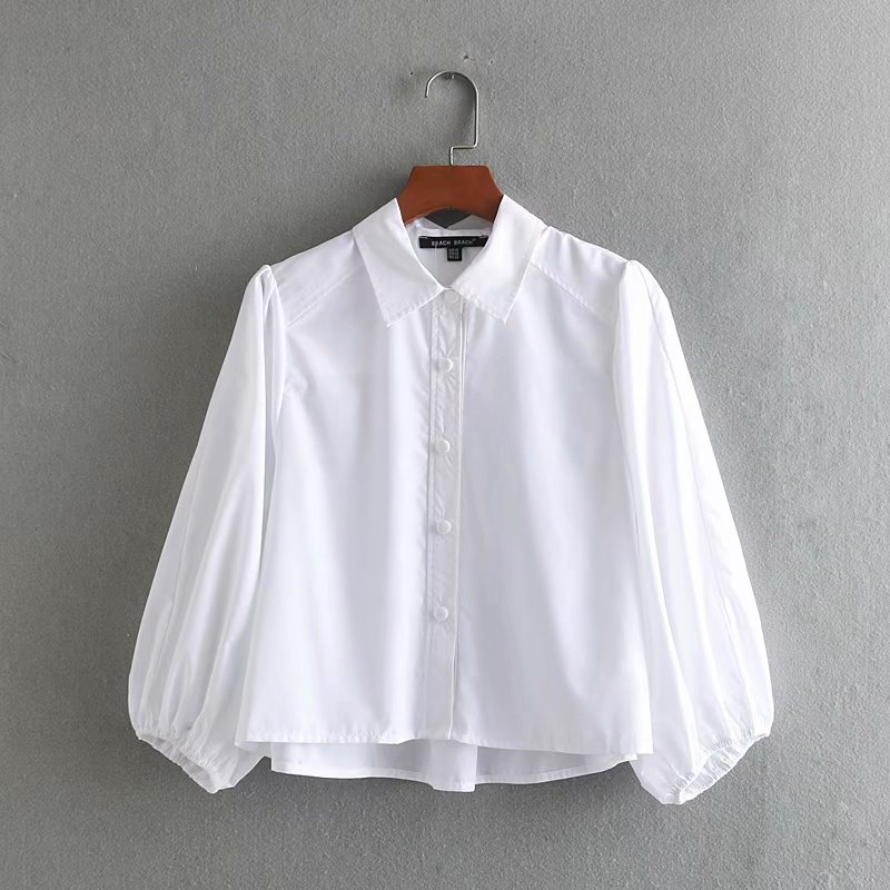 2020 new women fashion lantern sleeve casual white smock blouses shirts women business femininas chemise chic blusas tops LS3607