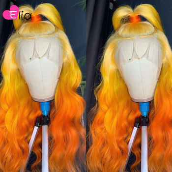 Elia Ombre 613 Yellow Orange Ginger Lace Frontal Wig HD Body Wave Wigs 150 Density 100% Remy Peruvian Human Hair Drop Shipping image