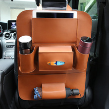 PU Leather Pad Bag Car Seat Back Organizer Travel Storage Bag Foldable Dining Table Car Seat Storage Bag Car-styling Accessores