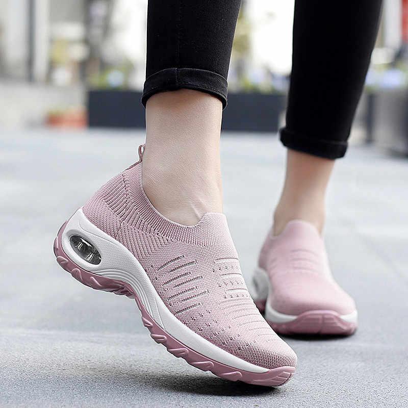PINSEN moda kadınlar düz Platform ayakkabılar nefes örgü rahat ayakkabılar kadın Slip-on yükseklik artış hava yastığı bayan ayakkabıları