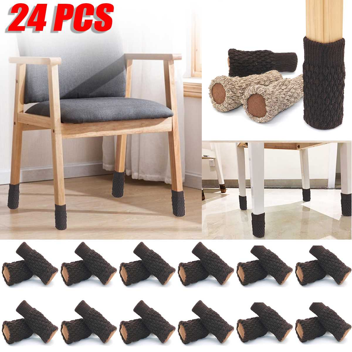 24PCS Table Furniture Feet Sleeve Cover Protectors Chair Leg Socks Cloth Gloves Floor Protection Knitting Wool Socks Anti-slip
