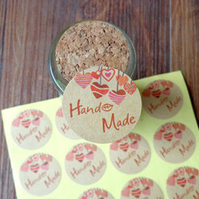 120pcs Hand Made with Heart Kraft Seal Sticker Gift Stickers DIY Creative Stationery Sticker Lable Dia.3.5cm