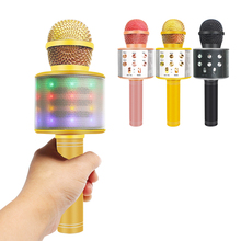 Ws858 micrófono Bluetooth para Karaoke, luces mejoradas, profesional, inalámbrico, con bolsa, condensador de teléfono, reproductor de música para grabar