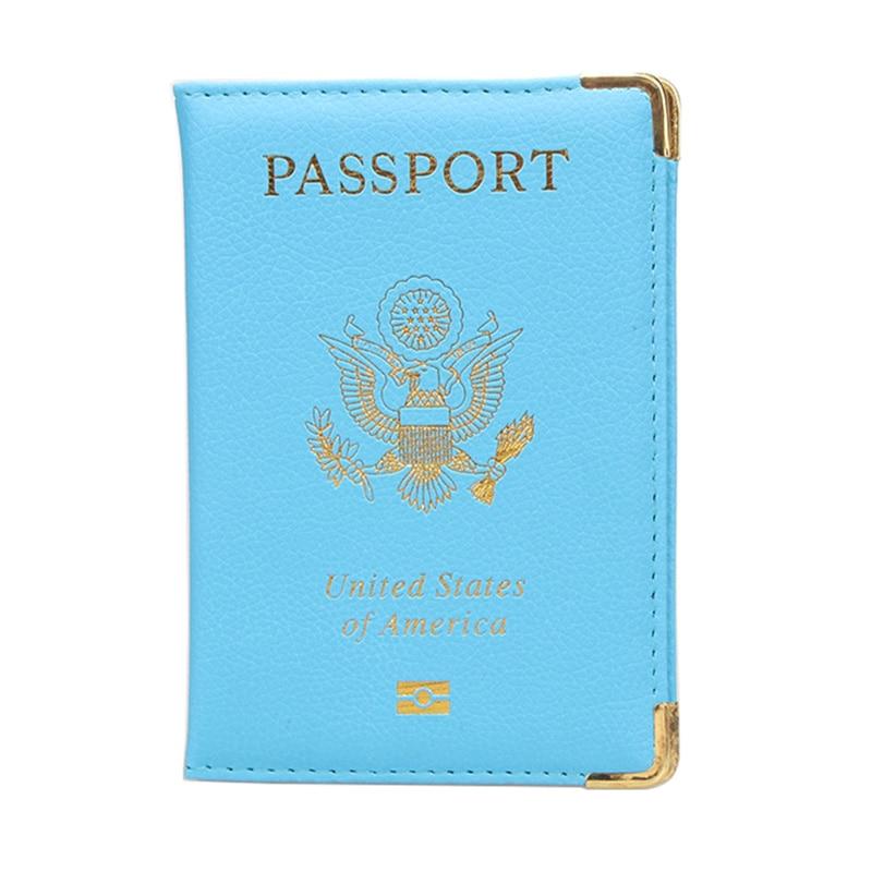 DIKEDAKU Travel Accessories Pu Leather America Passport Cover Women Pink Gold Corner USA Passport Holder Soft Cute Case Passport