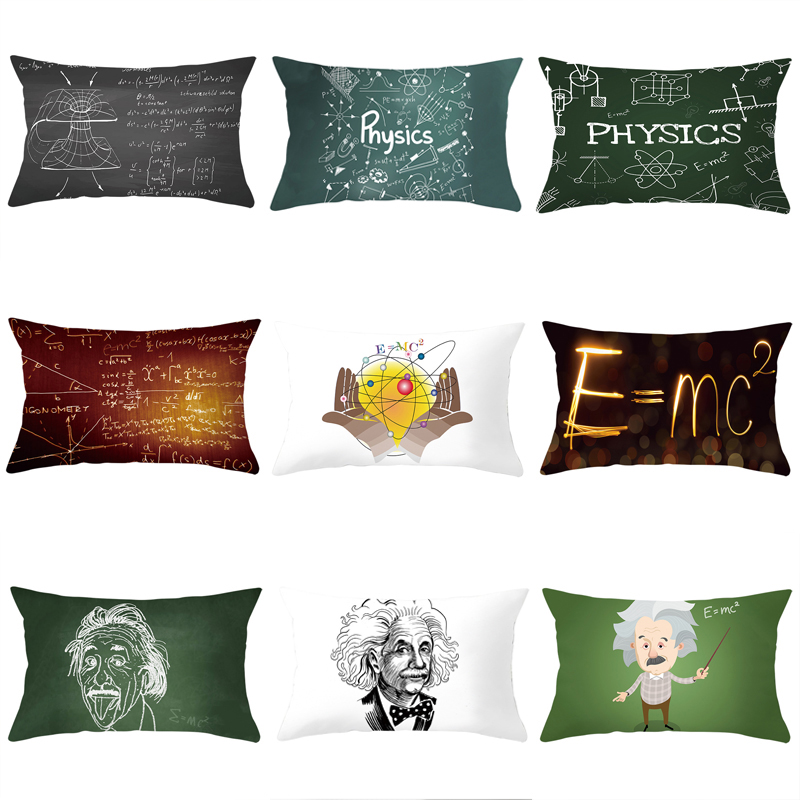 Formula Digital Pillowcase Einstein Geometric Formula Lumbar Sofa Couch Cushion Cover Home Decoration