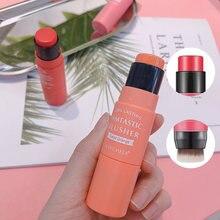 3 cores dupla-headed blush vara com escova hidratante rosto em pó blush clarear rouge vara pêssego cremoso blush fazer