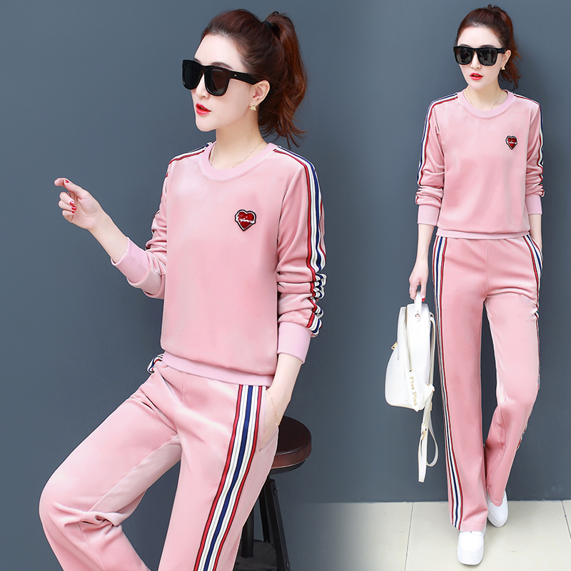 Long Sleeve T Shirt Women Will Spring A New Single Pleuche Han Edition Female Striped Suit Collar Color Sports Two-piece