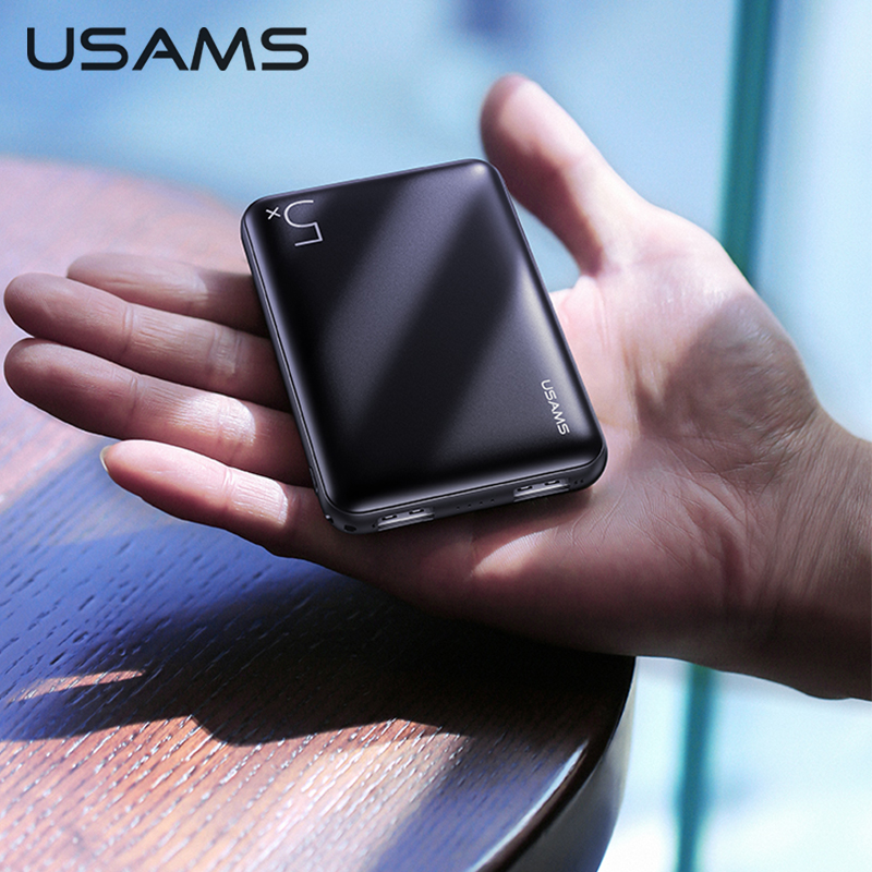 USAMS 5000mAh Mini batterie dalimentation pour iPhone Samsung Xiaomi ultra-mince double USB chargeur rapide Powerbank batterie extensible mobile