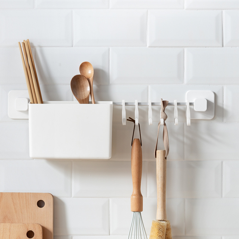 NC Kitchen Supplies Hole Punched Wall Hangers Storage Hook Wholesale Simple With Chopsticks Holder With 8 Hook China Mobile Row
