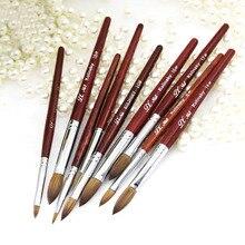 цена на Kolinsky Sable Acrylic Nail Brush for Powder Manicure Flat Wood Handle Gel Builder Brush Choose Size
