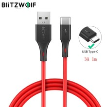 Blitzwolf 2 In 1 3A Usb Type-C Snel Opladen Data Kabel 3ft/0.9 M Usb Charger Cord voor Oneplus 6 Voor Xiaomi Mi8 Mix Voor Huawei(China)