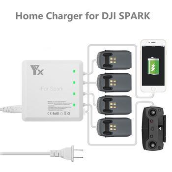 Cargador rápido 6in1 para batería DJI Spark y centro de carga de batería de Control con 2 puertos USB para el hogar de carga de teléfono cargador para chispa