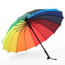 Hot Paraplu Regen Vrouwen Kleurrijke 16K Regenboog Lange Paraplu Mannen Vrouwen Winddicht Guarda Chuva Golf Clear Paraplu Grote Parasol