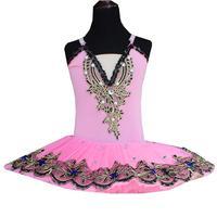 Professional Ballerina Ballet Tutu For Children Pink Pancake Tutu Belly Dance Costumes Ballet Dress Kids Crystal Sashes