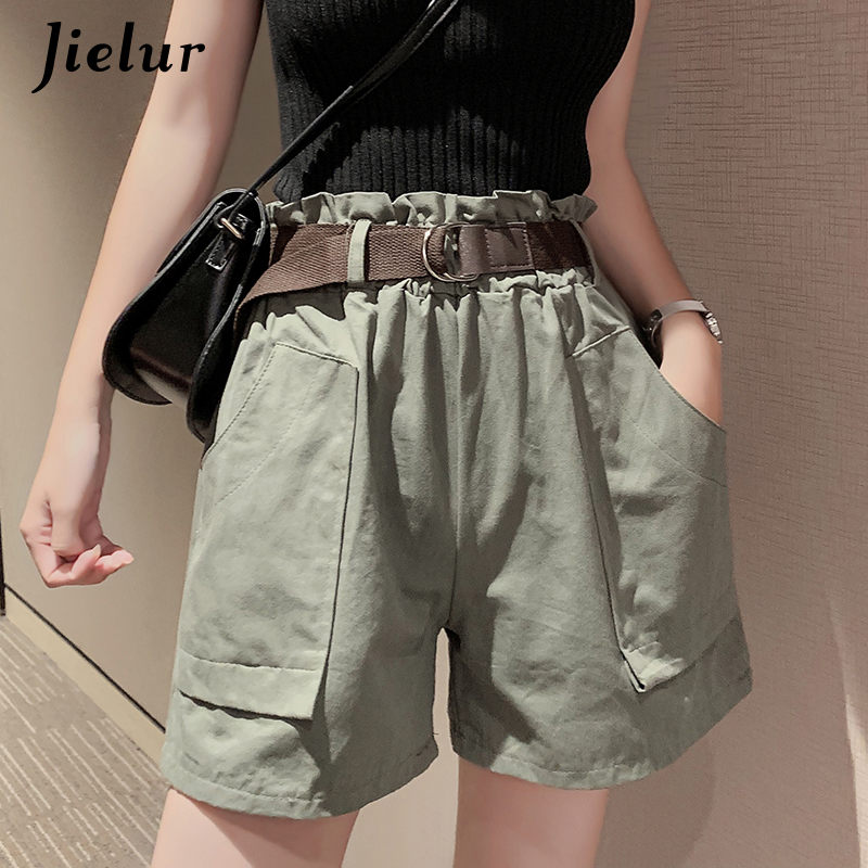 Jielur Summer Shorts Cargo Elastic Streetwear High-Waist Casual Women Korean Lady Straight