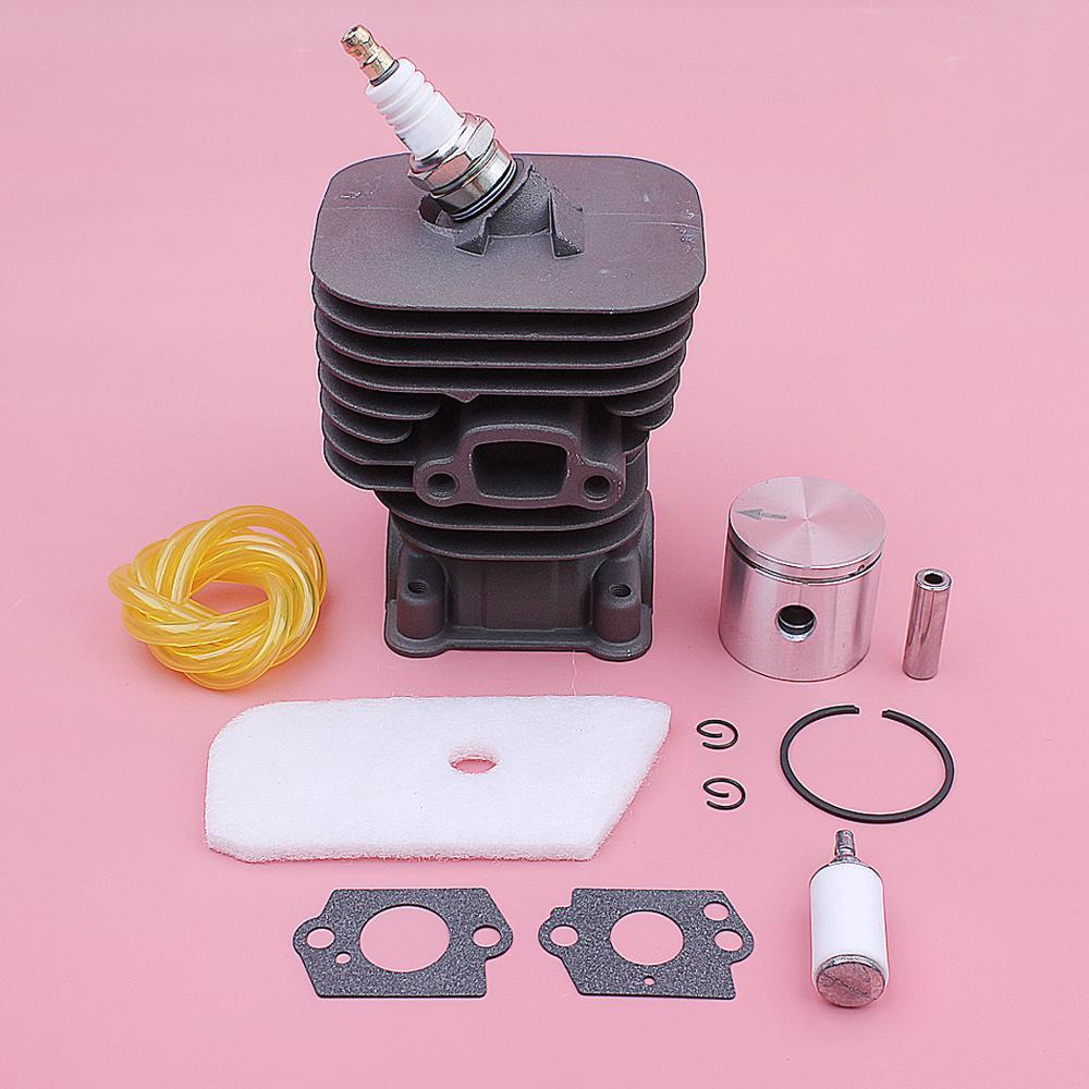 Cylinder Piston Air Fuel Filter Kit For Husqvarna 128C 128CD 128L 128LD Trimmer Parts 545008082 Carb Gasket Spark Plug 35mm