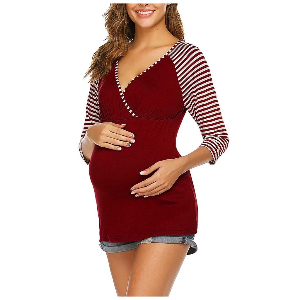 Maternity Clothes 3/4 Sleeve V Neck Striped Printed Nursing Tops Breastfeeding Pregnancy Shirt Ropa Premama Embarazadas Grossess
