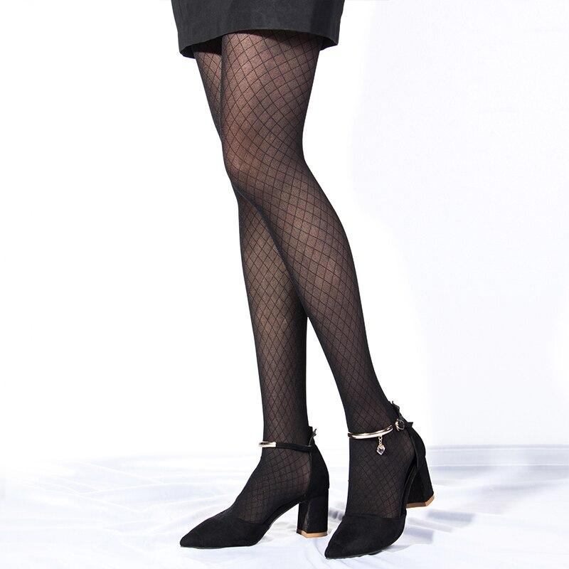 New Sexy Thin High Hosiery Pantyhose Diamond Elegant Lace Tights Elastic Silk Women Ladies Female Girl Sexy Rhombus Stockings.