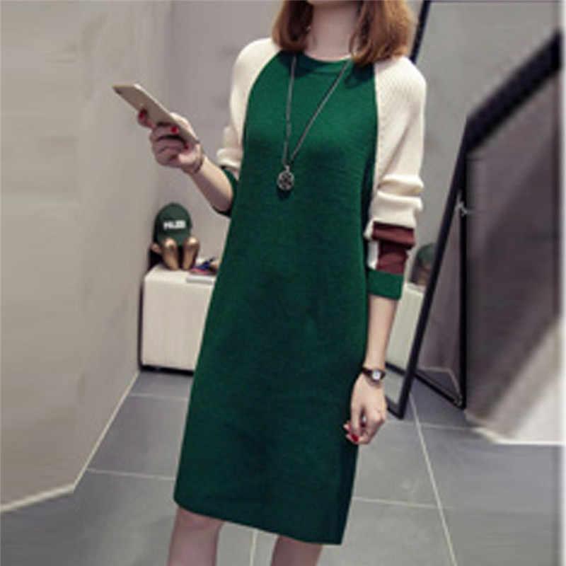 سترة فستان المرأة الخريف الكورية فستان فضفاض عادية متماسكة طويلة الأكمام سترة فستان Truien Dames الشتاء 2019 لانج البلوز Damen
