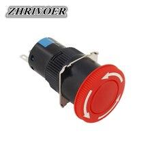 цена на 16mm LA16-11ZS Red Mushroom Head Emergency Stop Push Button Switch 3 Pin 5A/250VAC