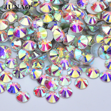 JUNAO SS3 6 10 12 16 20 30 50 Glitter Crystal AB Glass Rhinestone Applique Flatback Nail Stone Non Hotfix Strass Crafts