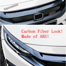 цена на Lapetus Front Hood Bumper Grill Grille Lights Eyelid Cover Trim Fit For Honda Civic Sedan 2016 - 2019 Black Red Carbon Fiber ABS