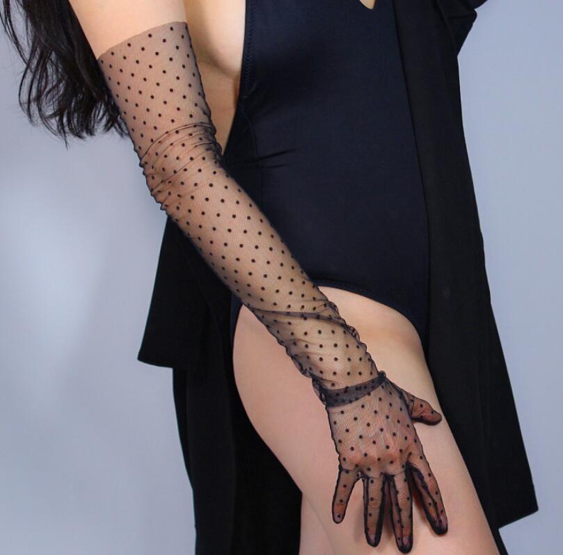 Women's Sexy Transparent Dot Print Long Black Mesh Glove Female Summer Sunscreen Club Party Dancing Glove R1998