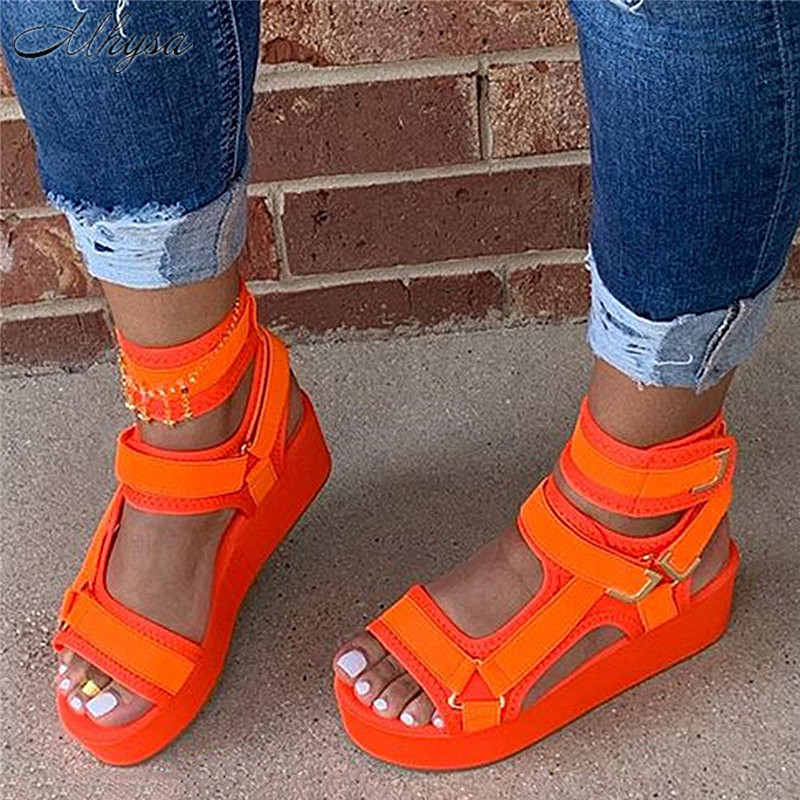 2020 Platform Sandals Women Shoes Summer High Heels Ladies Casual Shoes Wedge Chunky Sandals Gladiator Fashion High Top Sandals
