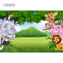 Laeacco Jungle Safari Party Animals Tree Baby Birthday Photography Background Customized Photographic Backdrops For Photo Studio